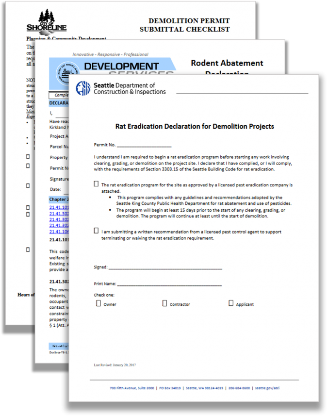 Rodent abatement paperwork