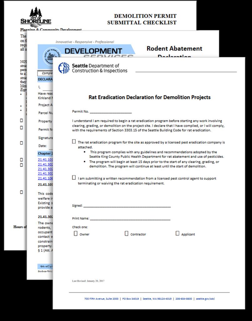 Rodent abatement paperwork for Shoreline, Kirkland and Seattle