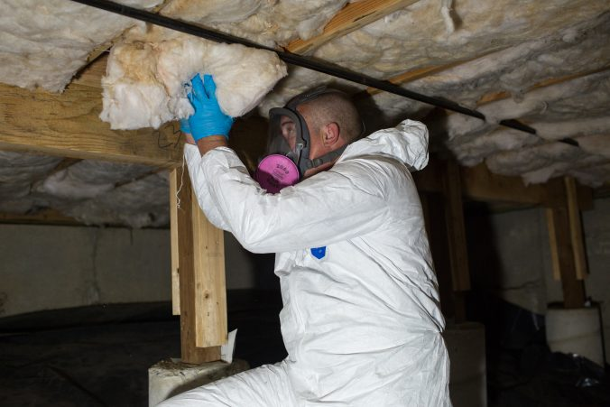 replacing rodent damaged insulation in crawl space, Washington